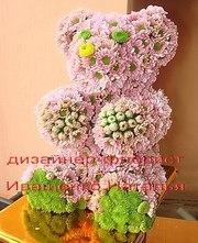 Мишка из живых цветов Киев