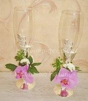Бокалы на свадьбу с цветами