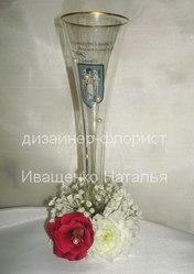 Украшение бокалов цветами в Киеве