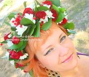 Свадебный венок на голову из живых цветов под заказ